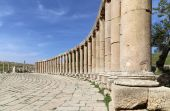Forum (Oval Plaza)  in Gerasa (Jerash), Jordan. — Stock Photo