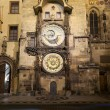 Night view of the medieval astronomical clock in the Old Town square in Prague, Czech republic — Stock Photo #59234797