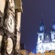 Prague Astronomical Clock and Church of Our Lady before Tyn, night, Czech Republic — Stock Photo #59234811