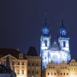Prague Astronomical Clock and Church of Our Lady before Tyn, night, Czech Republic — Stock Photo #59234817