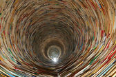 Book tunnel in Prague library -- mirrors are used to create this effect — Stock fotografie