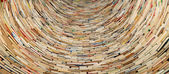 Book tunnel in Prague library -- mirrors are used to create this effect — Foto de Stock