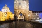 Night view of Charles Bridge in Prague, Czech Republic — Stock Photo