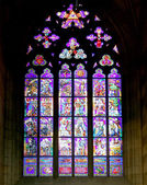 Art Nouveau painter Alfons Mucha Stained Glass window in St. Vitus Cathedral, Prague, Czech Republic — Stock Photo