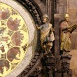 Night view of the medieval astronomical clock in the Old Town square in Prague, Czech republic — Stock Photo #61180049