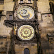 Night view of the medieval astronomical clock in the Old Town square in Prague, Czech republic — Stock Photo #61180039