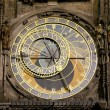 Night view of the medieval astronomical clock in the Old Town square in Prague, Czech republic — Stock Photo #61180059