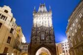 Powder tower (gate) at evening in Prague, Czech Republic. It is one of the original city gates, dating back to the 11th century — Stock Photo