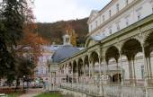 Karlovy Vary (Carlsbad) -- famous spa city in western Bohemia, very popular tourist destination in Czech Republic — Stock Photo