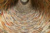 Book tunnel in Prague library -- mirrors are used to create this effect — Stock Photo