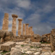 Remains of an ancient Greek temple of Heracles (V-VI century BC), Valley of the Temples, Agrigento, Sicily. — Stock Video #62053181