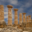 Remains of an ancient Greek temple of Heracles (V-VI century BC), Valley of the Temples, Agrigento, Sicily. — Stock Video #62054557