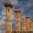 Remains of an ancient Greek temple of Heracles (V-VI century BC), Valley of the Temples, Agrigento, Sicily. — Stock Video #62055279