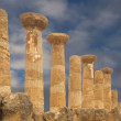 Remains of an ancient Greek temple of Heracles (V-VI century BC), Valley of the Temples, Agrigento, Sicily. — Stock Video #62056153