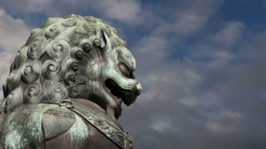 Bronze Guardian Lion Statue in the Forbidden City, Beijing, China — Stock Video