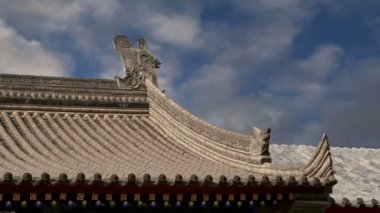 Roof decorations on the territory Giant Wild Goose Pagoda, is a Buddhist pagoda located in southern Xian (Sian, Xi'an), Shaanxi province, China — Stock Video