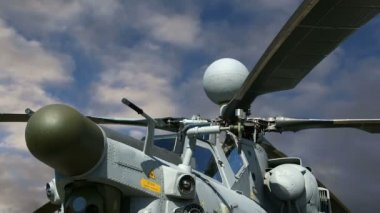 Details of the rotor and part of the body of modern military helicopters closeup — Stock Video