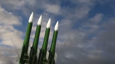 Modern Russian anti-aircraft missiles  against the sky — Stock Video