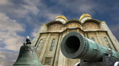 The Tsar Cannon, Moscow Kremlin, Russia -- is a large, 5.94 metres (19.5 ft) long cannon on display on the grounds of the Moscow Kremlin — Stock Video