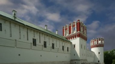 Novodevichy Convent, also known as Bogoroditse-Smolensky Monastery  is probably the best-known cloister of Moscow, Russia — Stock Video