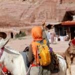 Tourist and Donkeys amongst the sandstone desert landscape of Petra, Jordan — Stock Photo #66169237