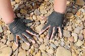 Medicinska leran på stranden vid döda havet, Jordan — Stockfoto