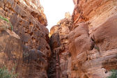 The 1.2km long path (As-Siq)  to the city of Petra, Jordan-- it is a symbol of Jordan, as well as Jordan's most-visited tourist attraction. Petra has been a UNESCO World Heritage Site since 1985 — Stok fotoğraf