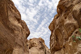 Fragment of rock in the 1.2km long path (As-Siq) in the city of Petra, Jordan — Stock Photo