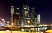 Skyscrapers International Business Center (City) at night, Moscow, Russia — Stock Photo