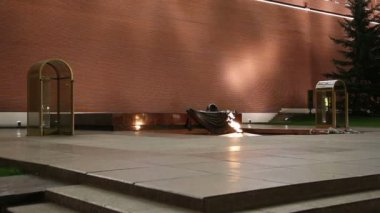 Eternal flame at the Tomb of the Unknown Soldier in the Alexander Garden to honor the dead of the Great Patriotic War, Kremlin wall. Moscow, Russia — Stock Video