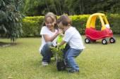 Happy Children Gardening — Stock Photo