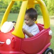 Happy Little Boy Driving His Toy — Stock Photo #57754171