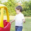 Happy Little Boy Driving His Toy — Stock Photo #57754993