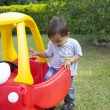 Happy Little Boy Driving His Toy — Stock Photo #57755145