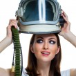 Woman with vintage astronaut helmet — Stock Photo #53584859