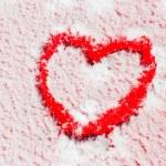 Heart drawn on snow — Stock Photo #65236175