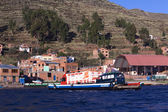 Ferry on Lake Titicaca at Tiquina, Bolivia — Stock Photo