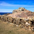 Stone Wall on Isla del Sol in Lake Titicaca, Bolivia — Stock Photo #59500123