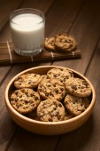 Chocolate Chip Cookies with Milk — Stock Photo