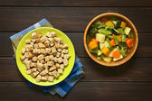 Croutons and Vegetable Soup — ストック写真