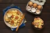 Scrambled Egg with Chorizo and Onion — Stock Photo