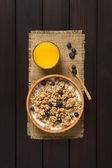 Breakfast Cereal with Blueberries and Milk — Stock Photo
