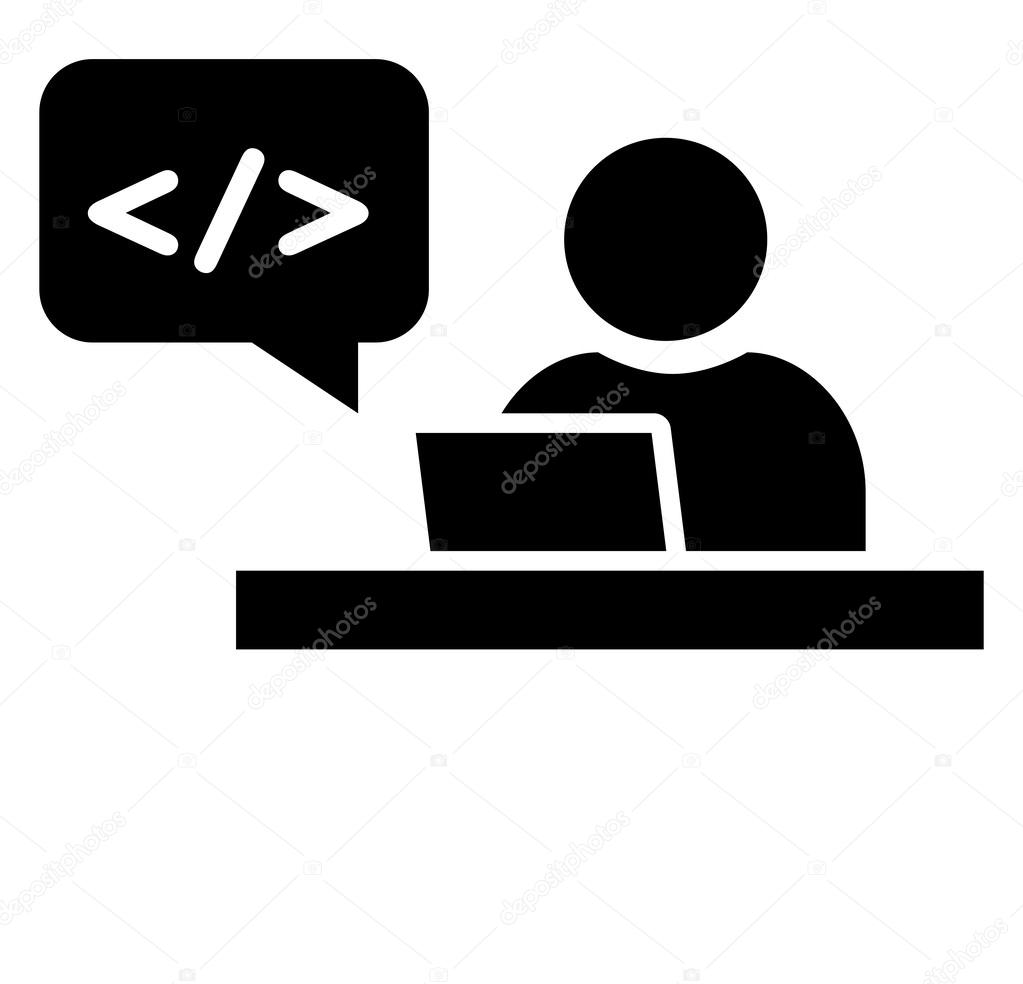 Software developer at workplace icon — Stock Vector ...