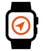 Smartwatch with GPS icon — Stock vektor