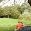 Mature couple sitting on bench in park — Stock Photo #70194649
