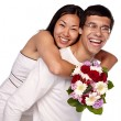 Interracial couple embracing — Stock Photo #70431907