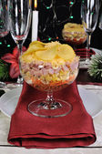 Layered salad in a glass — Stock Photo