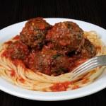 Meatballs in tomato sauce with spaghetti — Stock Photo #63692523
