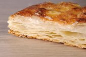piece of puff pastry in the incision — Stock Photo
