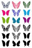 Unicolorous butterflies wings set — Stock Vector